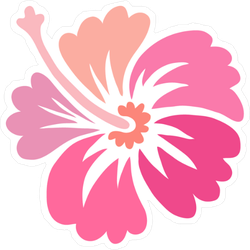 Pink Hibiscus Flower Icon Sticker