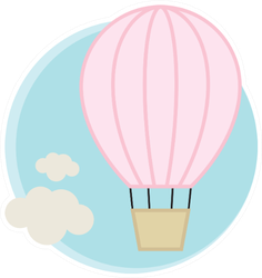 Pink Hot Air Balloon And Clouds Sticker