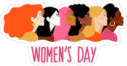 Pink International Women`s Day Sticker