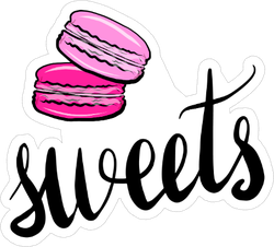 Pink Macaroons Sweets Sticker