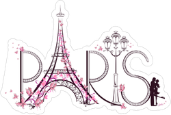 Pink Paris Artwork Sticker