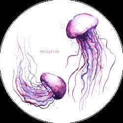 Pink Purple Watercolor Jellyfish Sticker