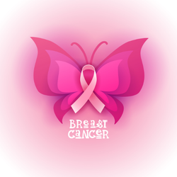 Pink Ribbon Butterfly Breast Cancer Sticker