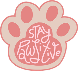 Pink Stay Pawsitive Paw Print Sticker