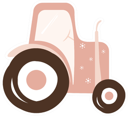 Pink Tractor Cute Kid Transport Illustration Sticker