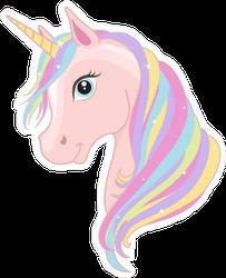Pink Unicorn Head With Rainbow Mane Sticker