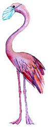 Pink Watercolor Flamingo In A Medical Mask Sticker