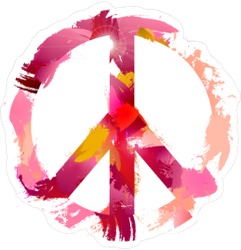 Pink Watercolor Peace Sign Sticker