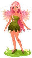 Pink Wings Fairy Sticker