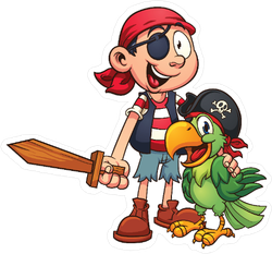 Pirate And Parrot Cartoon Sticker