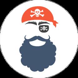 Pirate Face Silhouette Circle Sticker
