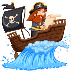 Pirate Reading Map On Ship Sticker