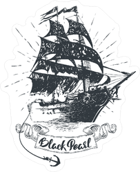 Pirate Ship and Anchor Illustration Sticker