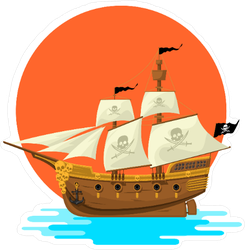 Pirate Ship at Sunset Sticker