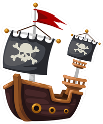 Pirate Ship Jolly Roger Flag Sticker