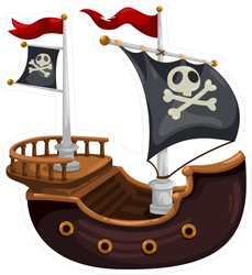 Pirate Ship Vector Illustration Sticker