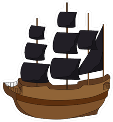 Pirate Ship With Black Sails Sticker