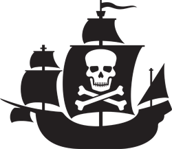 Pirate Ship With Skull And Crossed Bones Sail Sticker