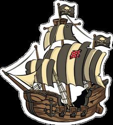 Pirate Ship with Striped Sails Sticker