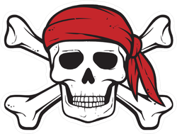 Pirate Skull Bandana And Bones Sticker