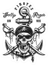 Pirate Skull Emblem With Swords Sticker