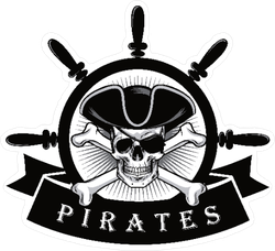 Pirate Skull With Eye Patch Banner Sticker