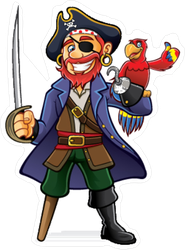 Pirate with Wooden Leg Sticker