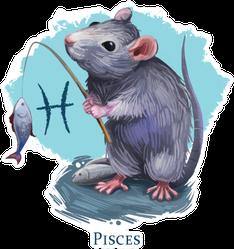 Pisces Creative Illustration Of Astrological Sign Rat Sticker