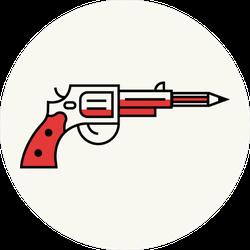 Pistol Shooting Pencil Gun Sticker