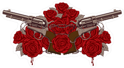 Pistols and Roses Gun Sticker