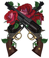 Pistols and Roses Sticker
