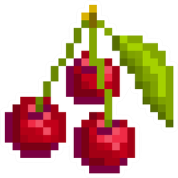 Pixel Art 3 Cherries With Leaf Sticker