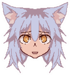 Pixel Art Anime Kawaii Cat Girl Face Sticker
