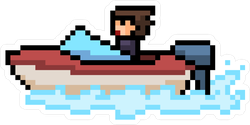 Pixel Art Beach Boat Sticker