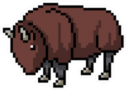 Pixel Art Bison Sticker