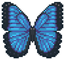 Pixel Art Blue Butterfly Sticker