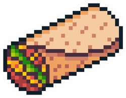 Pixel Art Burrito Sticker