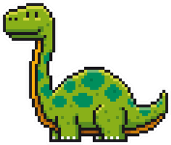 Pixel Art Cartoon Dinosaur Sticker