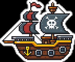 Pixel Art Cartoon Pirate Ship Sticker