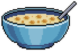 Pixel Art Cereal In Bowl Sticker