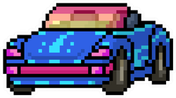 Pixel Art Convertible Car Sticker