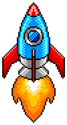 Pixel Art Detailed Rocket Sticker