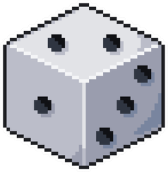 pixel Art Dice 8bit Game Icon Sticker