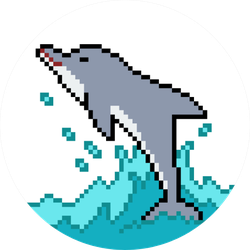 Pixel Art Dolphin Jump Isolated Cartoon Sticker