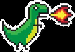 Pixel Art Fire Breathing Dinosaur Sticker