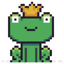 Pixel Art Frog Character With Golden Crown Sticker