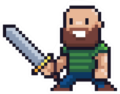 Pixel Art Gamer With Sword Sticker