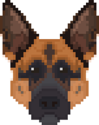 Pixel Art German Shepherd Head Sticker