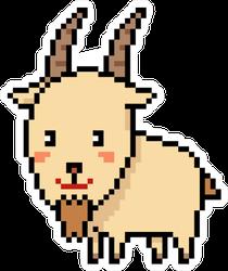 Pixel Art Goat Isolated Cartoon Sticker
