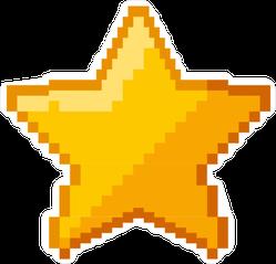 Pixel Art Gold Star Sticker